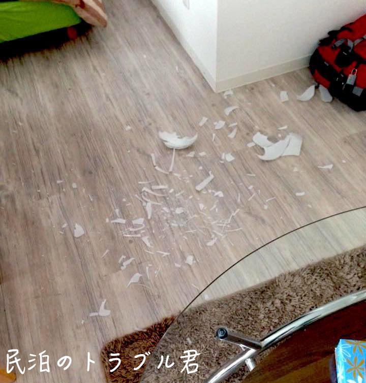 ボウル皿落下させ破片が散乱。